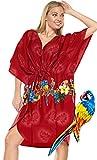 LA LEELA Mujer Kaftan Túnico Impreso Kimono Estilo Más tamaño Vestido para Loungewear Vacaciones Ropa de Dormir & Cada día Cubrir para Arriba Tops Camisolas Playa Blood Rojo_N787