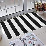 Elloevn Schwarz und Weiß Streifen Moderne Teppiche, Waschbar Fußmatte Outdoor, Shaggy Terrasse Teppich für Wohnzimmer, Küche, Kinderzimmer, 70 * 110 cm - 2