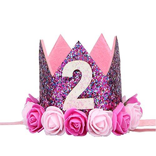 BESTOYARD Princesa Corona Cumpleaños para Bebé de Flor 2 Año Edad Rosado