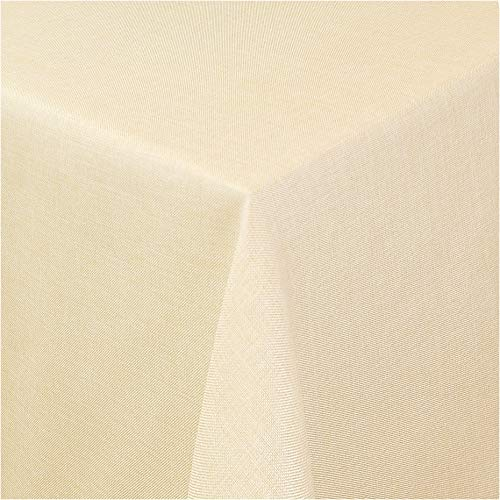 TEXMAXX®Premium Gartentischdecke Tischdecke Garten eckig Maßanfertigung - 140 x 100 cm in Sand - Tischdecken im Leinen Design - Lotuseffekt mit Fleckschutz