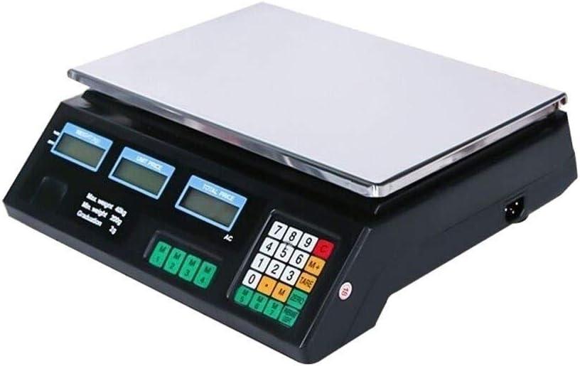 40KG Digital Escala electrónica Acero Inoxidable LCD exhibición Doble Cara Precio Computing con un Peso Shop Plataforma balanza Locales y Frutas Veggie Escala
