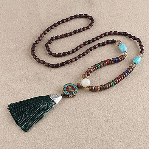 Bohemian Tassel Vintage Necklace Enthic Long Handmade Nepal Wood Beads Women Tassel Pendants & Necklaces Jewelry Gifts Special (Metal Color : Blue White Zinc Plated)