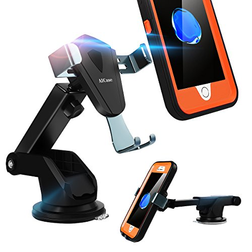 Car Phone Mount, AICase Dashboard & Windshield Car Mount Holder Strong Sticky Gel Pad with One-Touch Design Truly Universal[Compatible for Otterbox Defender Case] Auto Lock/Release (No Air Vent)