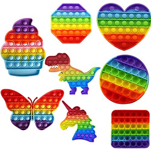 8 pcs Pop it Fidget Toy Set, Fidgets Toys, Baby Spielzeug, Figetttoys, Popit, Ostergeschenke Kinder, unter 10 Euro Kinder, Squishy Toys, Anti Stress Popet (Rainbow Octagon, Square, Round and Heart)