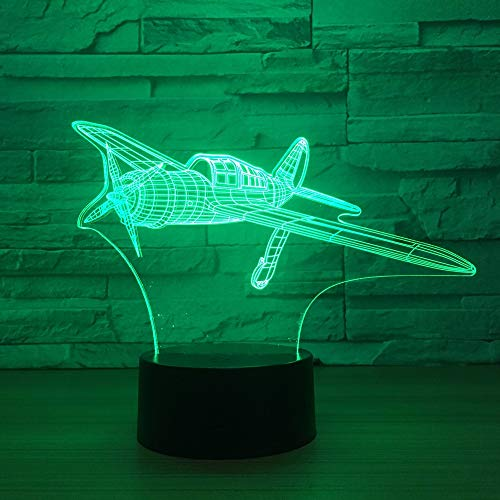 LIkaxyd 3D Optical Illusion Night Light Propeller Plane Christmas Gift Night Light Beside Table Lamp,7 Colors Auto Changing Touch Switch Desk Decoration Lamps Birthday Gift