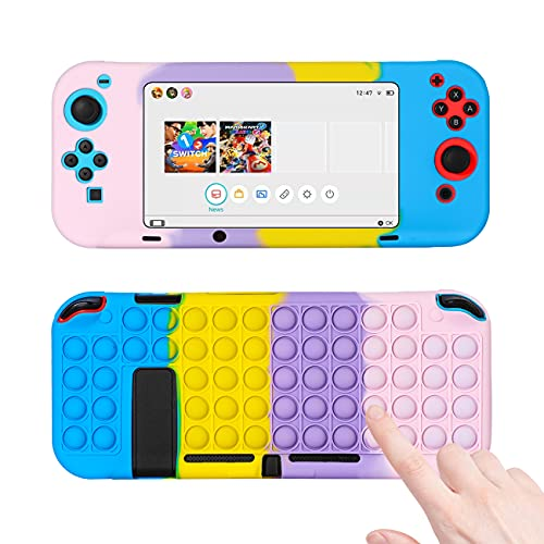 Jowhep for Nintendo Switch Silicone Case Fidget Toy it Funny Fun for Switch Games Cover Soft Design Kawaii Shell for Girls Boys Friends Kids Cases for Switch Controllers (Color Bubble)