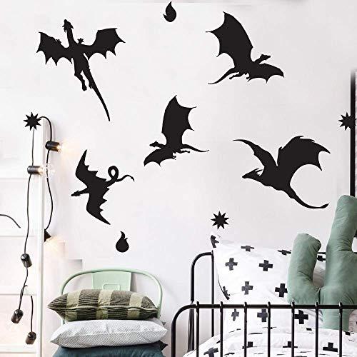 Drachen Silhouette Wandtattoo Dinosaurier Wald Thema Kinderzimmer Dekoration Drachen Vogel Vinyltapete Beweglichen Tier Wandbild