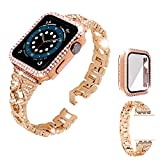 ROSAUI for Apple Watch Bands with Case 44mm SE Series 6 5 4, Metal Replacement Wristband Strap Women Girls Bling Crystal Diamond Luxury Jewelry Bracelet Shiny Hard Plastic Case for iWatch SE/S6/S5/S4