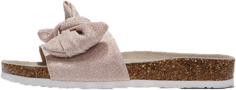 Ailj Women's Sandals, Woman's Slide Canvas Knot Bow Summer Non-Slip Casual Sandals Bow Sandals Pink