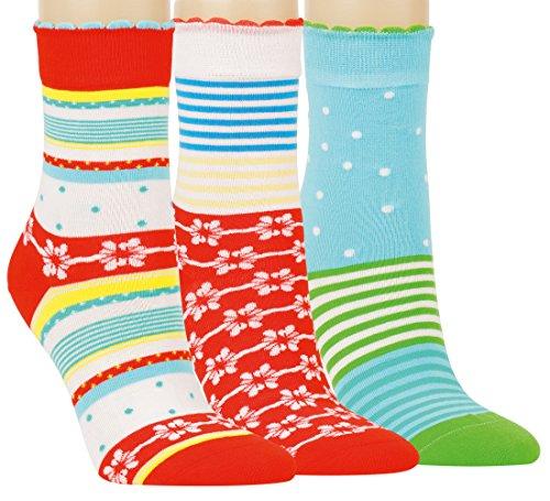 Vitasox 11950 Damen Mädchen Socken Damensocken Ringelsocken Baumwolle Ringel Punkte bunt ohne Gummi ohne Naht 6er Pack 35/38
