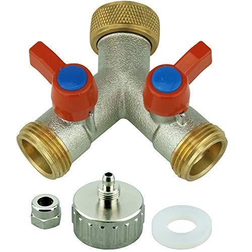 'AS2 de y2h/M. Répartiteur en Y avec robinets d'arrêt pour tuyaux pour raccorder 2 appareils SBS Réfrigérateur et valves de Chasse d'Machine à laver. 2 voies 3/4 \