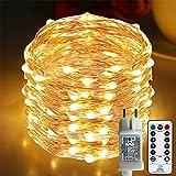 [220 LED] Lichterkette, 25M 8 Modi lichterkette außen strom lichterketten wasserdicht außen/innen Kupfer Lichterketten mit Remote-Timer zum Schlafzimmer, balkon möbel, Party, Weihnachten (Warmweiß)