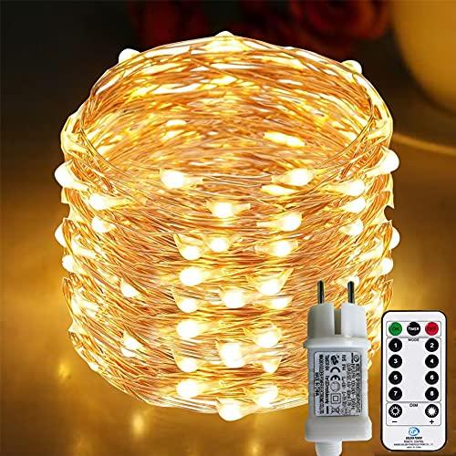 [220 LED] Lichterkette, 25M 8 Modi lichterkette außen strom lichterketten wasserdicht außen/innen Kupfer Lichterketten mit Remote-Timer zum...