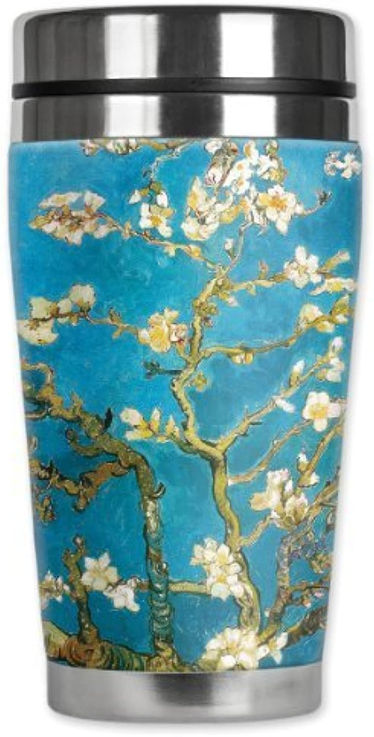 Mugzie Van Gogh Almond Blossoms voyage Mug with Insulated Wetsuit Cover, 16 oz, noir by Mugzie