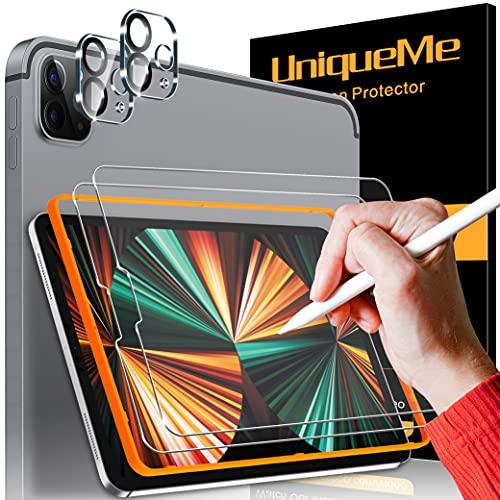 UniqueMe [2+2 Stück] Paperfeel Panzerglas für iPad Pro 2020/2021(12.9 Zoll) 9H Festigkeit, Schreiben Like Paper Schutzfolie Matte Bildschirmschutz Kameraschutz zum Zeichnen/Notizen machen [Unterstützt Pencil]