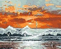 DIY 数字油絵 夕日、海の波、カモメ ンバスの油絵 大人の子供用ギフト 数字キットでペイント ホ ムデコレ ション 40x50cm