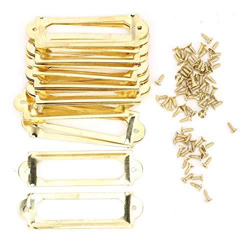 20 piezas Portaetiquetas Antiguas Marco de tarjeta de nombre de metal Tarjeta de nombre del cajón del archivador de Office Armario Carpintero Reparación Decoración(Bronce amarillo)