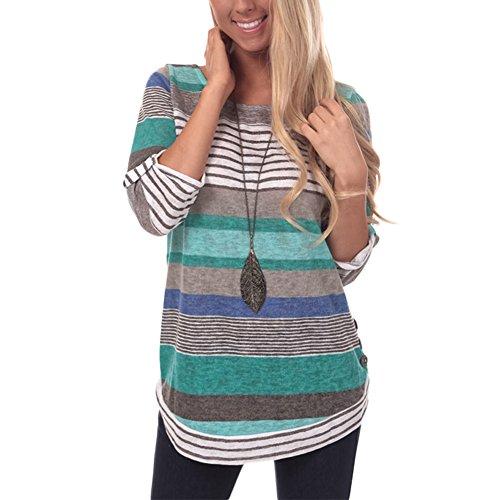 Tops Camisetas Mujer Otoño e Invierno Blusas para Mujer Vaquera Sexy Camisas Mujer Raya Manga Larga Blusas Sudadera con Capucha