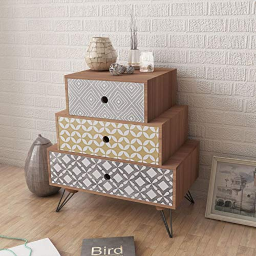 Anself Bedside Cabinet 3 Drawers Chest Drawers Bedroom Table Furniture Brown