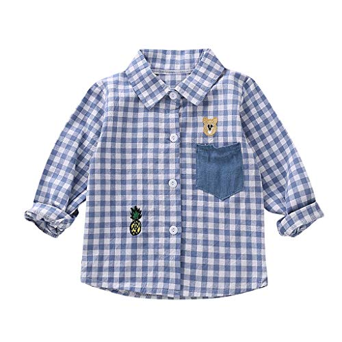 LianMengMVP Jungenhemd Bluse Kleinkind Baby Kinder Plaid GentlemanTops Kleidung Outfits