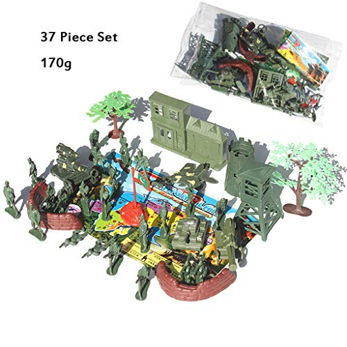 37 Stück Set Kinder 5Cm Militär Szene Kunststoff-Soldaten Spielzeug-Haus-Flagge Tank Kämpfer Zwei/Vier-Rad-Kanone Sentry Box Gun Turm Big Tree