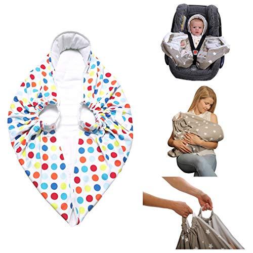 Snugglebundl – Original Crash Tested Car Seat Lift & Lay Transfer Baby Blanket   0-18m Funky Spots   Move Baby Asleep   Safety Tested Up to 30kg