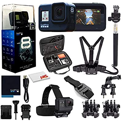 GoPro HERO8 Black Digital Action Camera - Waterproof, Touch Screen, 4K UHD Video, 12MP Photos, Live Streaming, Stabilization - with Mega Accessory Kit - All You Need Bundle by GoPro