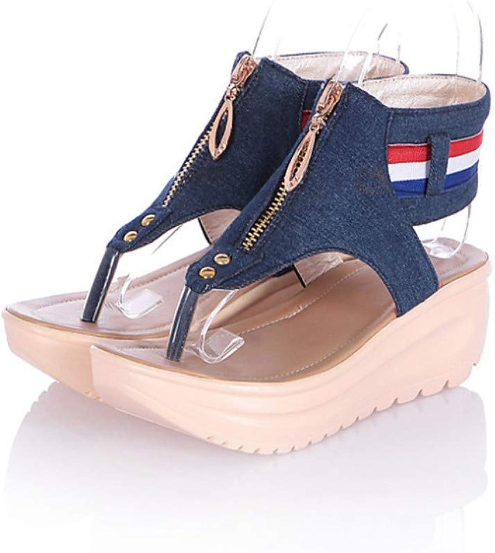 IWlxz Women's Wedge Heels Denim Summer Comfort Novelty Sandals Wedge Heel Cap-Toe bluee Light bluee