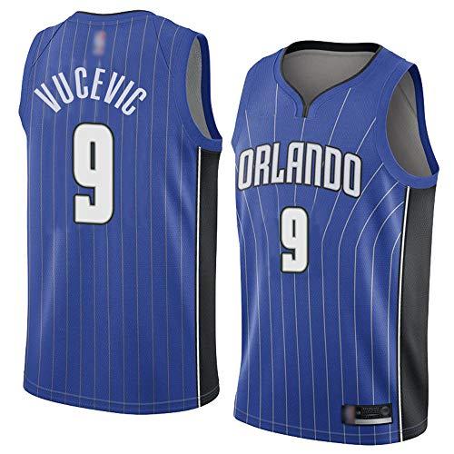 SHR-GCHAO Camisetas Sin Mangas De Camisetas De Baloncesto para Hombre, NBA Orlando Magic # 9 Nikola Vucevic/Sudaderas para Adolescentes Ocio Decoramiento Rápido,Azul,M(170~175cm)