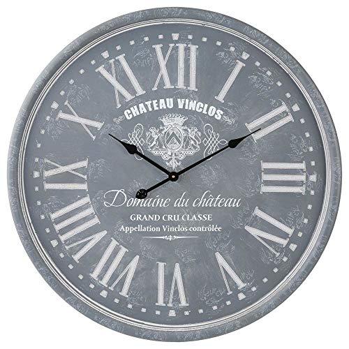 Grande horloge pendule murale en bois style vintage - Diamètre 78 cm - Coloris GRIS patiné