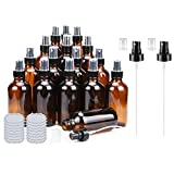 Amber Glass Spray Bottles 4oz ULG Fine Mist Sprayers Empty Spray Atomizer for Essential Oils Aromatherapy Cosmetic Sprays Including 16 PCS Waterproof DIY Labels 2PCS Spray Replacement