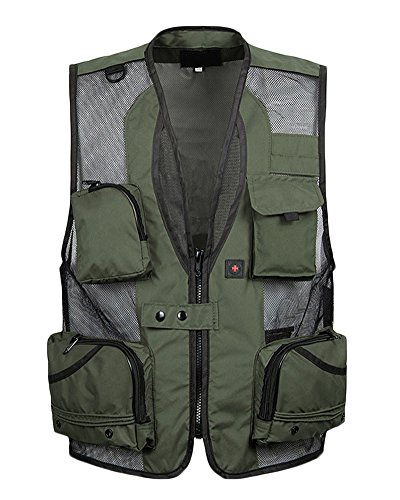 Yonglan Herren Outdoor Jagd- Und Anglerweste V-Kragen Superleicht Netzweste Lässige Fotografie-Reporter-Weste Armee-Grün 5XL