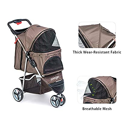 comiga Pet Stroller, 3-Wheel Cat Stroller, Foldable Dog Stroller with Removable Liner and Storage Basket, for Small-Medium Pet,Coffee 4