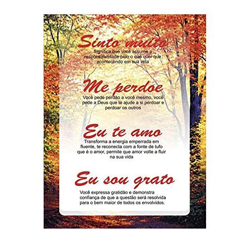 Placa Decorativa Quadro Oração Ho'oponopono com significado 30 x 40 cm