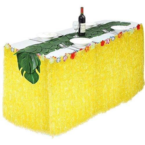 TOPINCN Cubierta de Falda de Mesa Flor Colorida Fiesta Hawaiana de Verano Fiestas en el jardín Decoración 276x75cm(Amarillo)