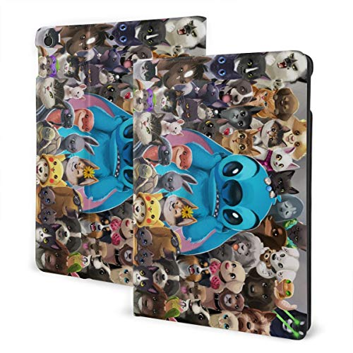 Cartoon Stitch Cute Dog Case Fit iPad 7 th 10.2 Inch Case with Auto Sleep/Wake Ultra Slim Lightweight Stand Leather Case