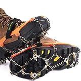 Ice Klampen Steigeisen mit 19 Zähne,Wahre Edelstahl Spikes und langlebiges Silikon,Schuhkrallen Anti Rutsch Schuhspikes für Winter Walking Wandern Bergsteigen.