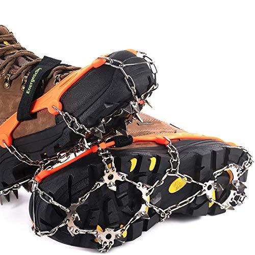 Griffes à Crampon avec19 Dents,Véritables pointes en acier inoxydable et silicone durable,Anti-Slip Crampons de glace Crampons de neige pour Randonnée Trekking Marche ou Activités sur Terrain.