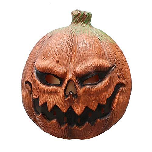 XWYWP Mscara de Halloween Deluxe Novedad Mscara de Calabaza Halloween Disfraz Fiesta Props Calavera Horror Mal Ltex Calabaza Cara Completa Mscara de Cabeza Beige