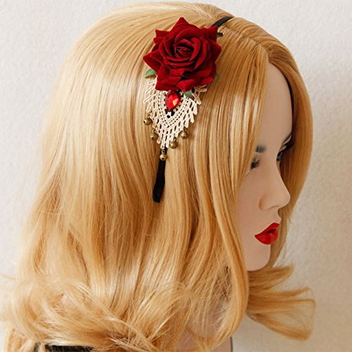 Danigrefinb Valentijnsdag Decoraties Geschenken Stijlvolle vrouwen Rose Bloem Strass Bell Gehaakte Kant Hoofdband Haarband