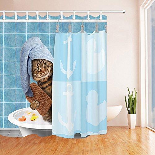 QCWN Lustiger Katzen-Duschvorhang, schönes Kätzchen, Dusche, Katze, trockene Haarhaube, Tiere, Bade-Dekoration, fantastische Bad-Dekorationen mit gratis Haken, 1 x 177,8 cm