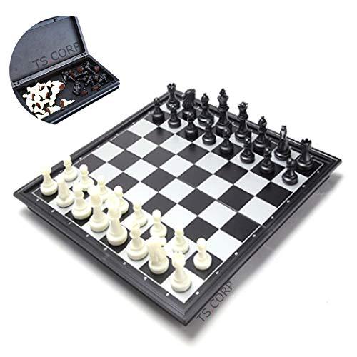 [TS.CORP] チェス マグネット チェスボード 折りたたみ チェスセット 日本語説明書付き(白&黒)