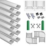 Perfil de Aluminio, 12 Pack 1M/3,3ft U Forma, Cubierta de difusor blanco lechoso, Los Casquillos de Extremo y los Clips de Montaje del Metal, Canal de Aluminio para tiras LED, 12M, Plata
