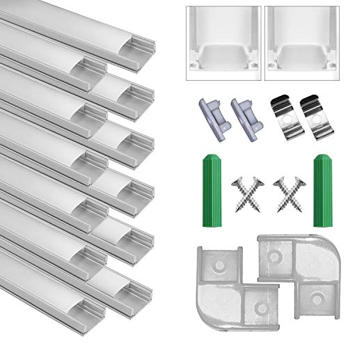LED Aluminium Profil 1m, 12er Pack in U-Form für LED Strip Lights und LED Flexbänder inkl. Mit Endkappe und Befestigungsclip Geeignet für Drinnen und Draußen (12*1-U-W)