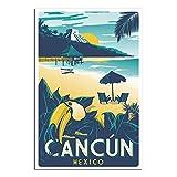 Vintage-Reise-Poster, Cancun Mexiko, Schlafzimmer,