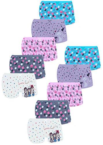 LOREZA ® 10er Pack Mädchen Pantys Boxershorts Unterwäsche aus Baumwolle (128/134, Modell 6)