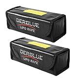 DerBlue 2pcs Fireproof Explosionproof Lipo Battery Safe Bag Lipo Battery Guard Safe Bag-Black (185x75x60mm)
