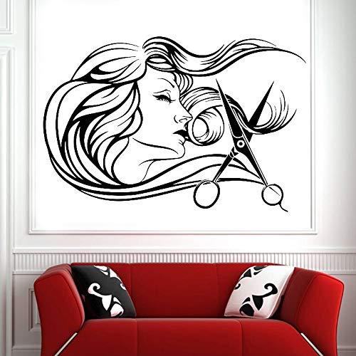 wZUN Herramientas de barbería Tijeras Mujer Pegatina de Pared Vinilo salón de Belleza calcomanía de Pared decoración de Sala de Estar 102X68cm