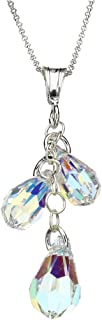 Sterling Silver Cable Chain Necklace AB Multi-Teardrop Pendant Made with Swarovski Crystals