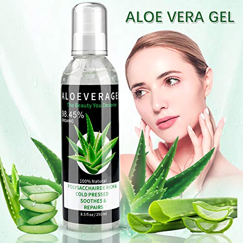 Wendapai Aloe Vera Gel, After-Sun Care Repair Hidratante Natural, hidratante, facial y corporal, cabello para pieles secas, estrés y quemaduras solares, etc. (250ML)